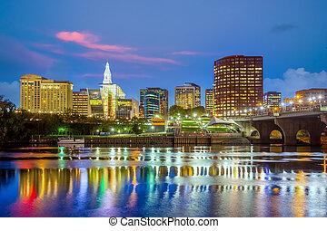 哈特福德, 市區, 城市, 美國, 都市風景, 地平線, 康涅狄格