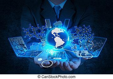 商人, 現代的技術, 工作, 手