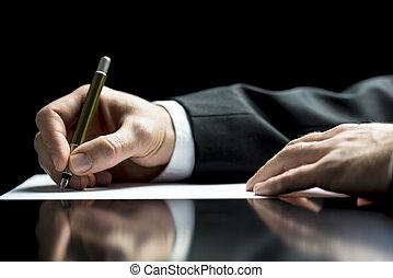 商人, 簽署, 或者, 信寫