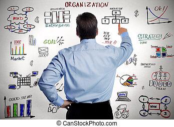 商人, 組織, 事務, scheme.
