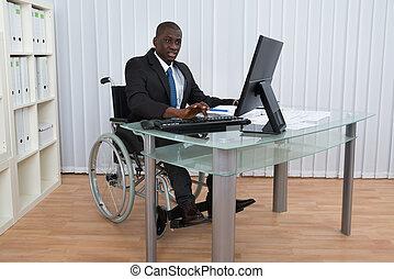 商人, 輪椅, 辦公室, 工作, 坐