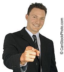商人, pointing.