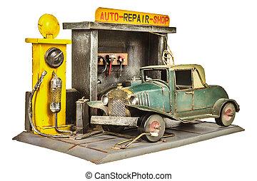 商店, 修理, 玩具汽車, 被隔离, retro, 白色