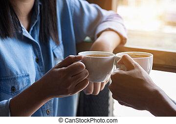 商店, 咖啡, 婦女, 二, 有吸引力