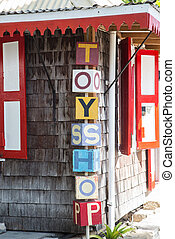 商店, 外面, 玩具, 老, 簽署