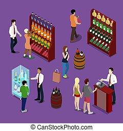 商店, 套間, 顧客, 酒精, 等量, 插圖, 瓶子, seller., 矢量, 內部, 酒, 3d