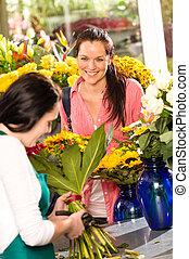 商店, 婦女, 花束, 快樂, 花, 種花人, 購買