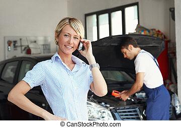 商店, 汽車, 婦女, 修理