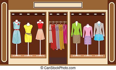 商店, boutique., 衣服, 婦女` s