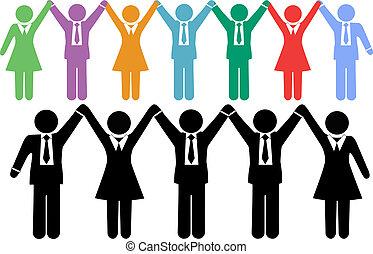 商業界人士, 符號, 扣留手, 慶祝