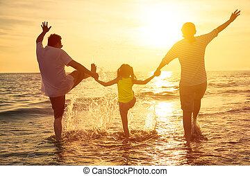 喜愛, 夏天, 家庭假期, 海灘, 愉快