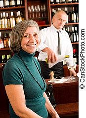 喜愛, 婦女, 酒吧, 玻璃, 年長者, 酒