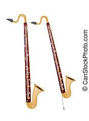 單簧管, 低音, 被隔离, 背景, 白色, 音樂