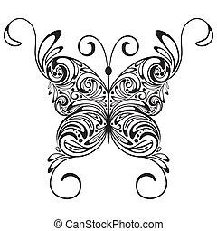 單色, 矢量, 蝴蝶, 紋身