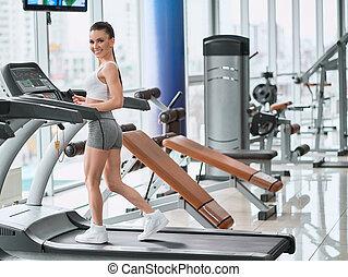 單調的工作, 年輕, 跑, 體操, 婦女