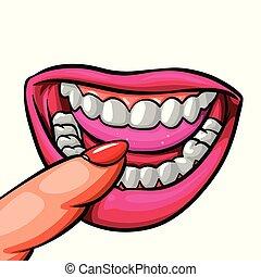 嘴, 向上, 手指, 嘴唇, 女性, 關閉, 嘴唇, 舌頭, 牙齒
