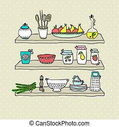 器具, 略述, 架子, 圖畫, 廚房