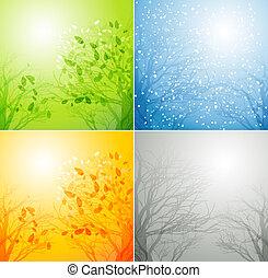 四個季節, 不同, 樹