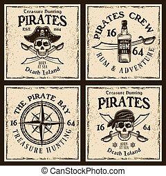 四, 列印, 海盜, t恤衫, 象征, 或者, 上色