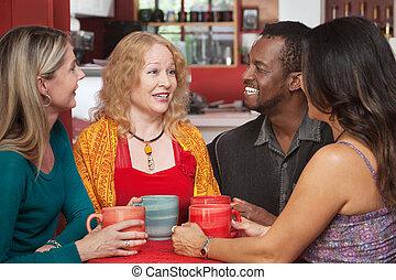 四, 咖啡館, 組, 快樂