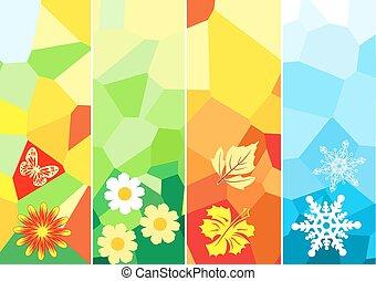 四, 季節, 旗幟, 設計, 你