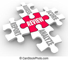 回顧, 片斷, 評估, 得分, 報告, 分析, 難題