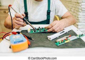 固定, 問題, repairman, 冰箱, 家