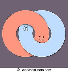圈子, 樣板, -, 二, infographics, 時髦, 設計