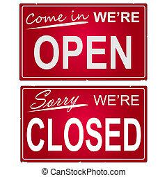 """圖像, 事務, signs., """"open"""", """"closed"""""""