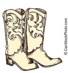 圖像, 圖表, .vector, 靴子, 牛仔