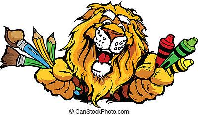 圖像, 獅子, 矢量, 吉祥人, 卡通, 幼儿園, 愉快
