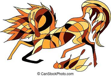 圖像, 矢量, 火熱, 馬