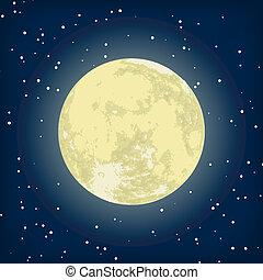 圖像, eps, 月亮, 矢量, 8, night.