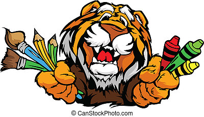 圖像, tiger, 矢量, 吉祥人, 卡通, 幼儿園, 愉快