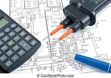 圖形, 計算器, 電, 鋼筆, 電壓試驗者