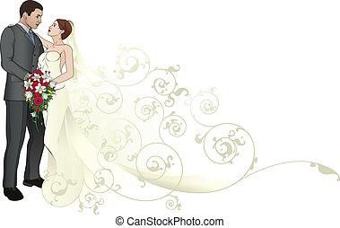 圖案, 新郎, 擁抱, 背景, 新娘