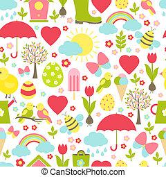 圖案, 春天, 微妙, 相當, seamless