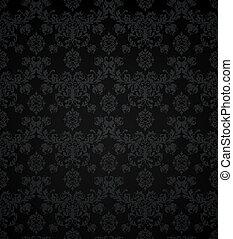 圖案, 牆紙, seamless, 黑色