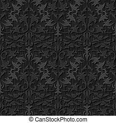 圖案, 絲綢, 黑色, seamless, 牆紙