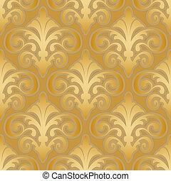 圖案, 絲綢, seamless, 金, 牆紙