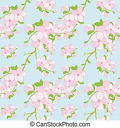 圖案, 花, 鮮艷, seamless, 背景