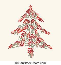 圖案, 離開, 樹, 聖誕節, 奶油