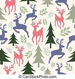 圖案, 馴鹿, seamless, 樹, 聖誕節