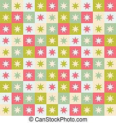 圖案, cream., 幾何學, stars., 正方形, seamless, 重覆, 聖誕節, 喜慶, 矢量, 設計, 紅色綠色