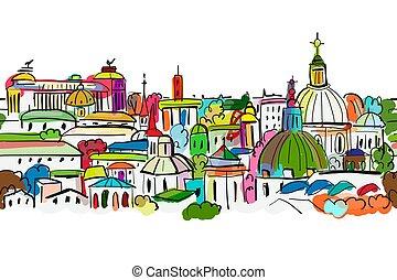 圖案, seamless, 背景, 設計, 都市風景, 你