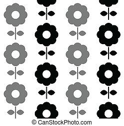 圖案, -, seamless, 黑色, 植物, 白色