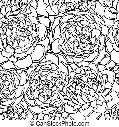 圖案, seamless, flowers., 黑色, 白色, 單色