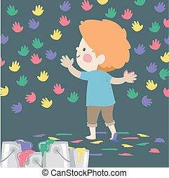 圖樣, 手, 男孩, 孩子, 插圖, 英尺