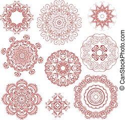 圖樣, 顏色, 裝飾品, 植物, 一, 集合, 帶子, 輪