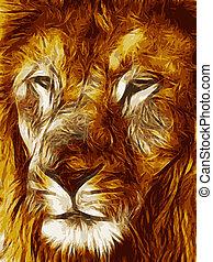 圖片, 特寫鏡頭, 插圖, 臉, 大, 獅子, 矢量